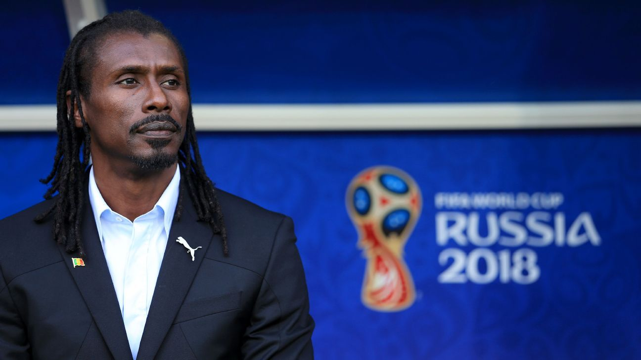 Senegal coach Aliou Cisse looks on ahead of Senegal's group stage win against Poland at the World Cup.