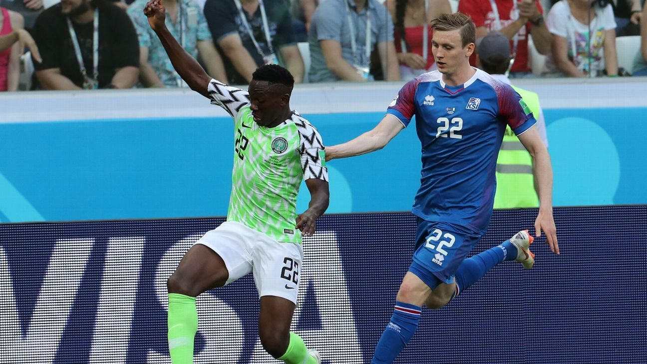 Kenneth Omeruo (L) of Nigeria and Jon Bodvarsson of Iceland in action during the 2018 FIFA World Cup