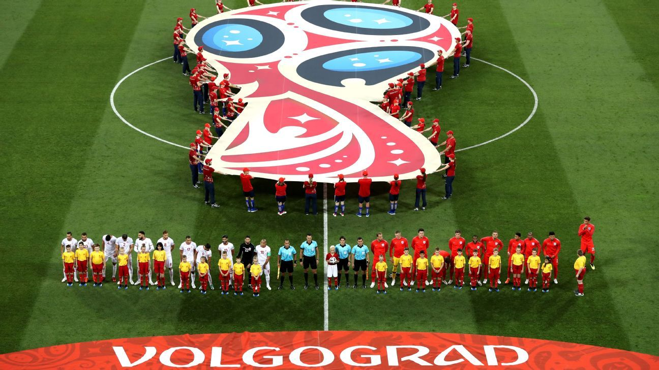 Tunisia and England line up ahead of the World Cup group-stage game at Volgograd Arena.