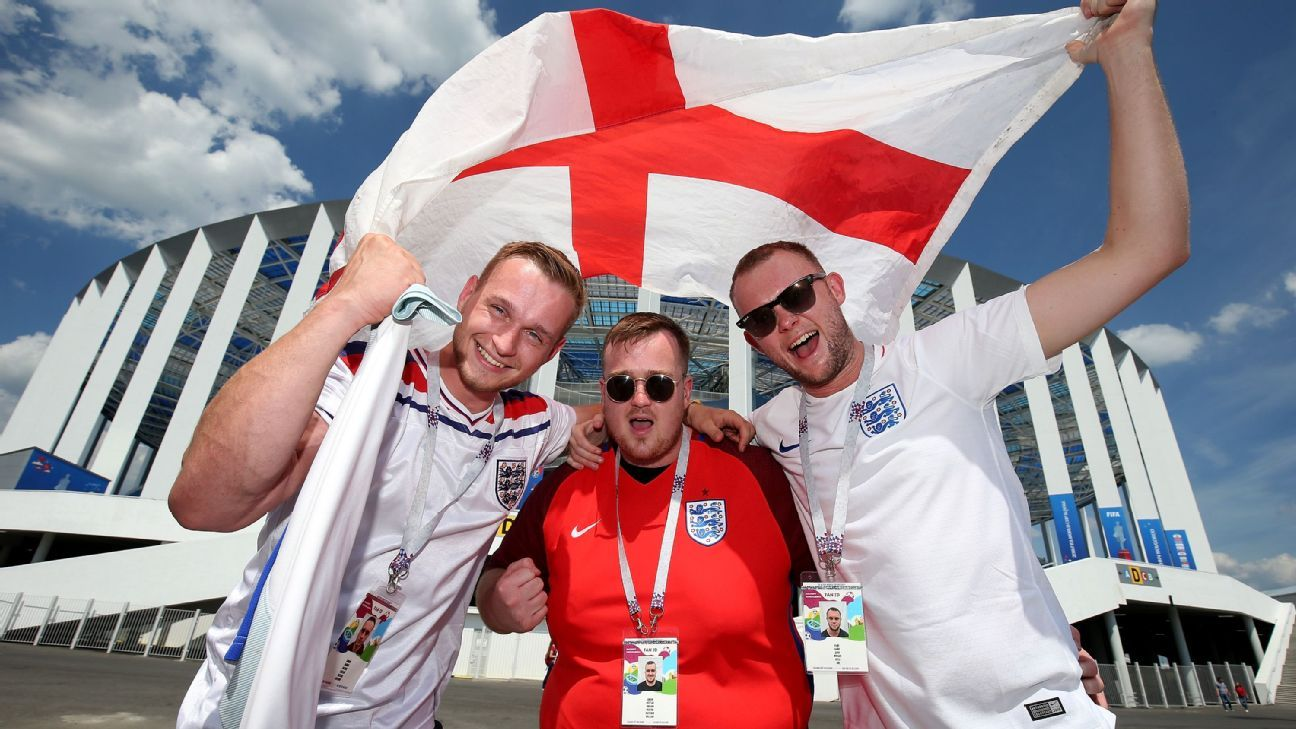 England fans enjoy the prematch atmosphere before playing Panama.