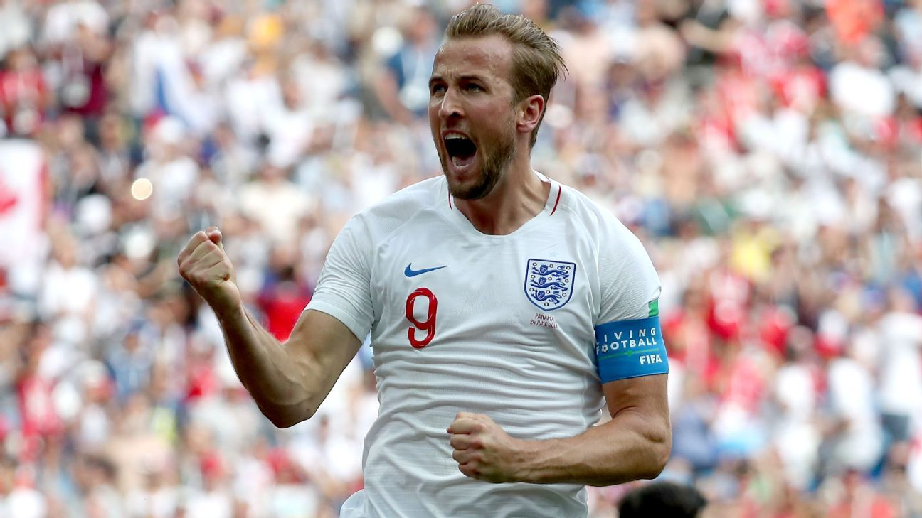 Harry Kane celebrates after scoring from the spot against Panama.