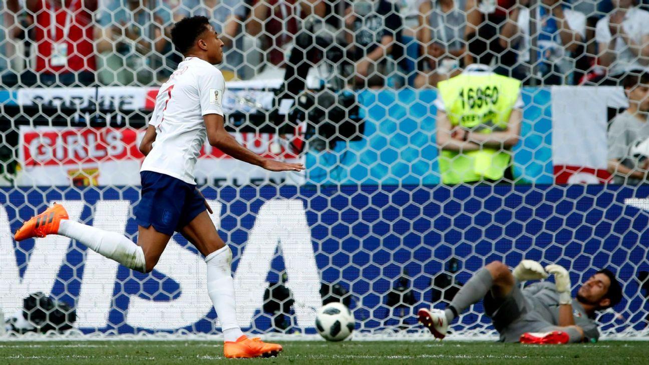 Jesse Lingard celebrates after scoring England's third goal.