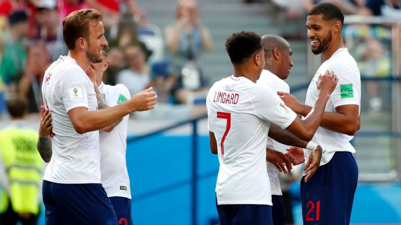 Harry Kane and England celebrate after making it 6-1.
