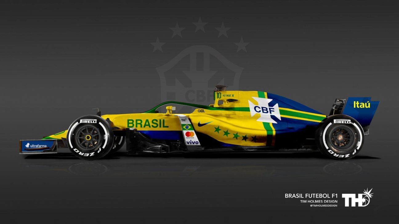 Tim Holmes Design's rendering of a Formula One livery for Brazil at this summer's World Cup.