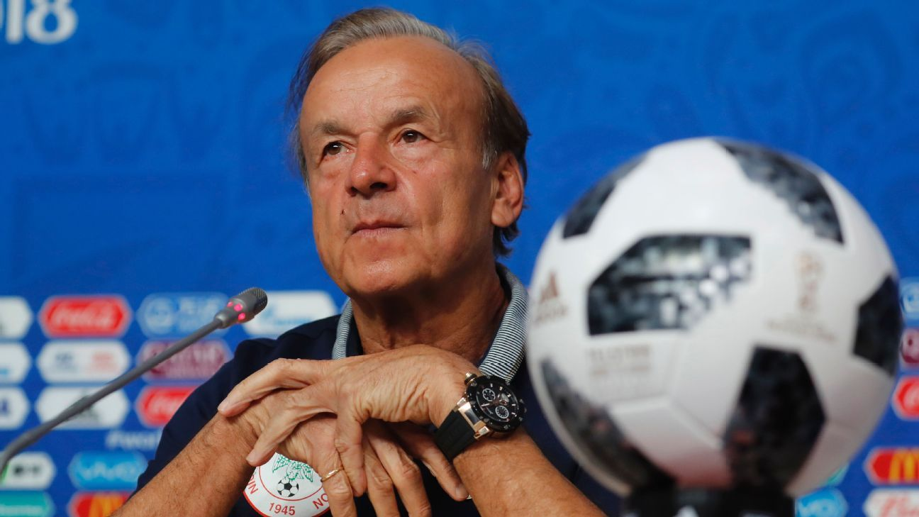 Nigeria's head coach Gernot Rohr attends a press conference