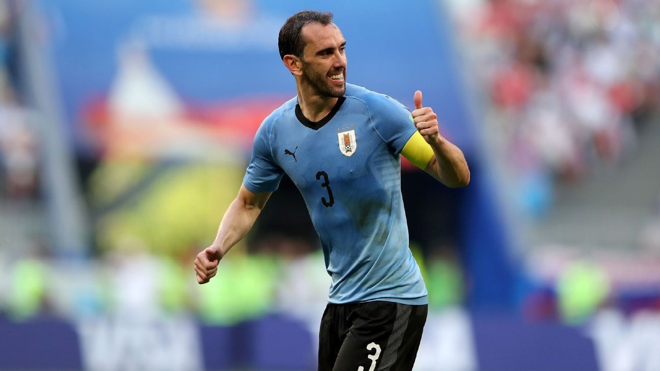 Diego Godin gestures during Uruguay's World Cup group-stage win over Russia.