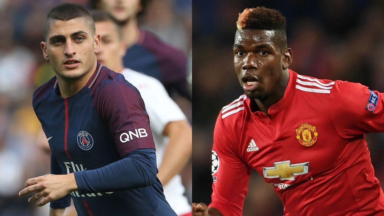 Paris Saint Germain's Marco Verratti and Manchester United's Paul Pogba.