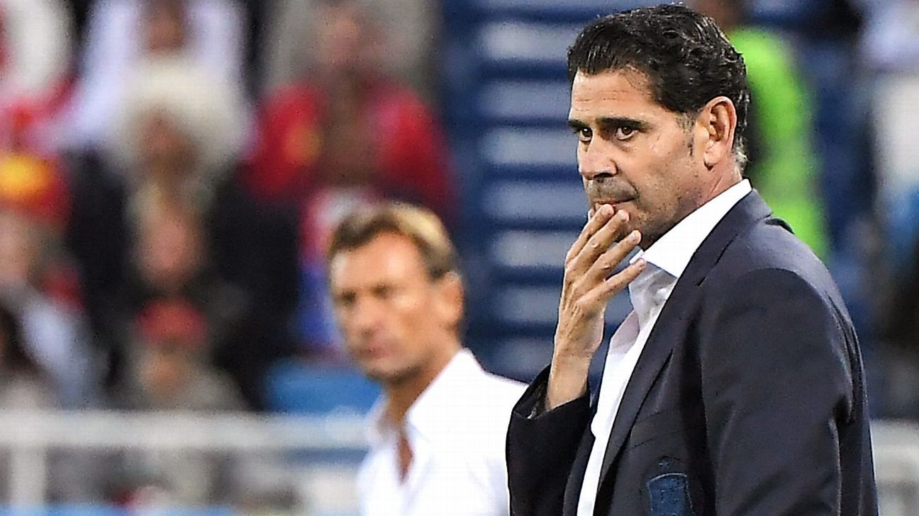Spain manager Fernando Hierro looks on during his side's 2-2 World Cup group-stage draw with Morocco.