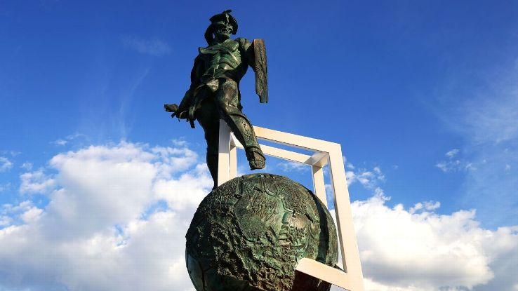 The statue of Spartacus, after whom Spartak Moscow is named, outside the Spartak Stadium.