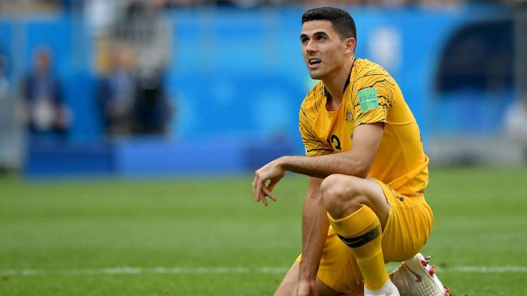 Australia's Tom Rogic looks on after the Socceroos' 2-0 defeat to Peru.