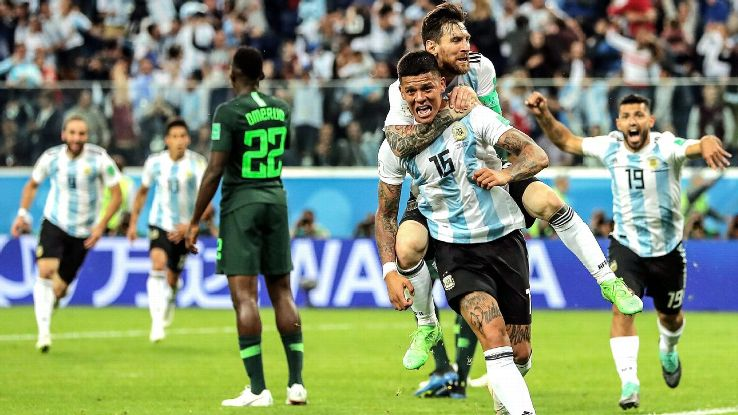 Marcos Rojo was Argentina's most unlikely hero as they rallied to beat Nigeria 2-1 and advance from Group D.