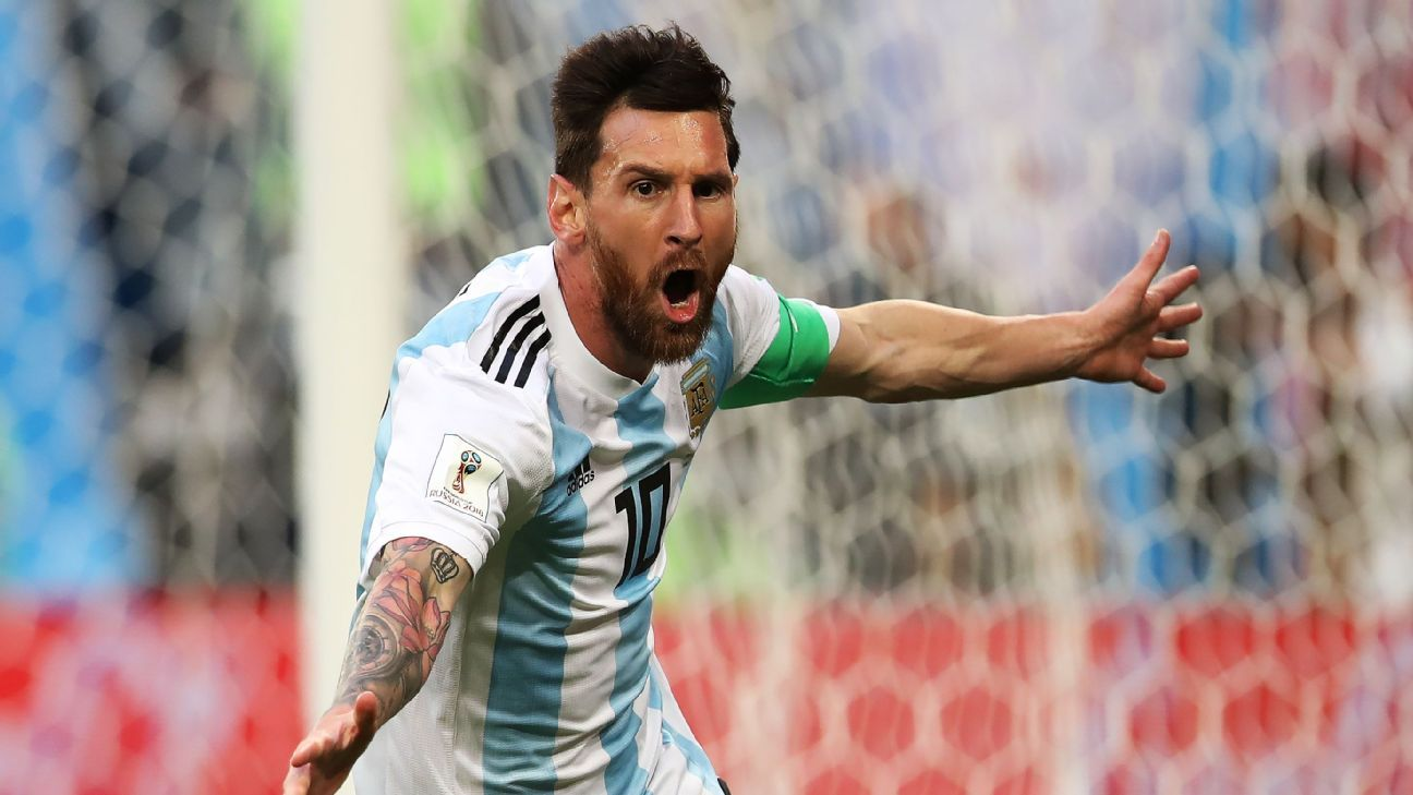 Lionel Messi finally scored his first goal in the World Cup knockout stages.