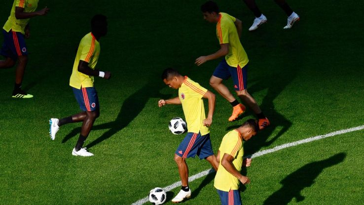Colombia players take part in a training session.