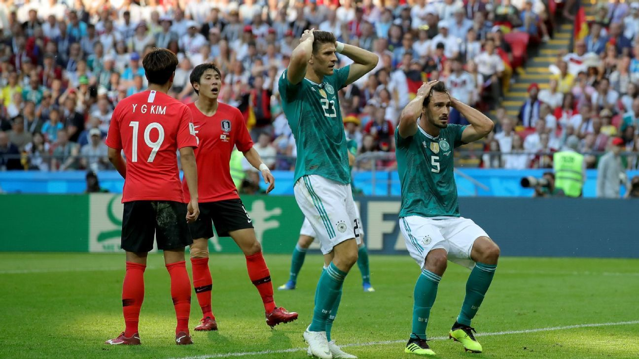 Mats Hummels of Germany react after a missed chance