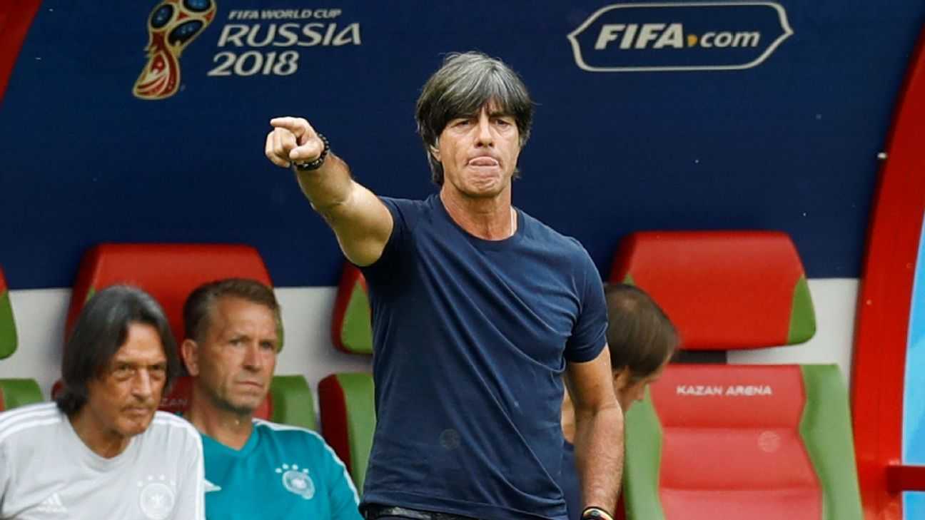 Joachim Low gives instructions during Germany's World Cup loss to South Korea.