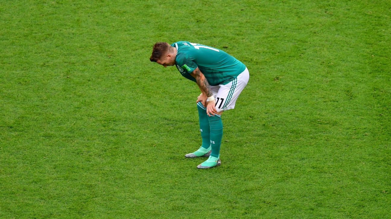 Marco Reus shows his dejection as Germany crashed out of the World Cup.