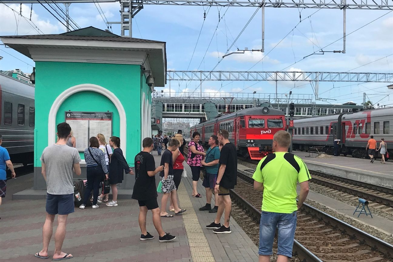 Passengers take a smoking break in Omsk.