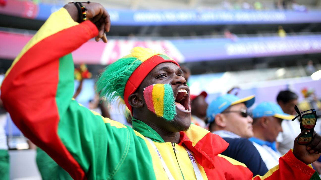 A Senegal fan enjoys the prematch atmosphere.