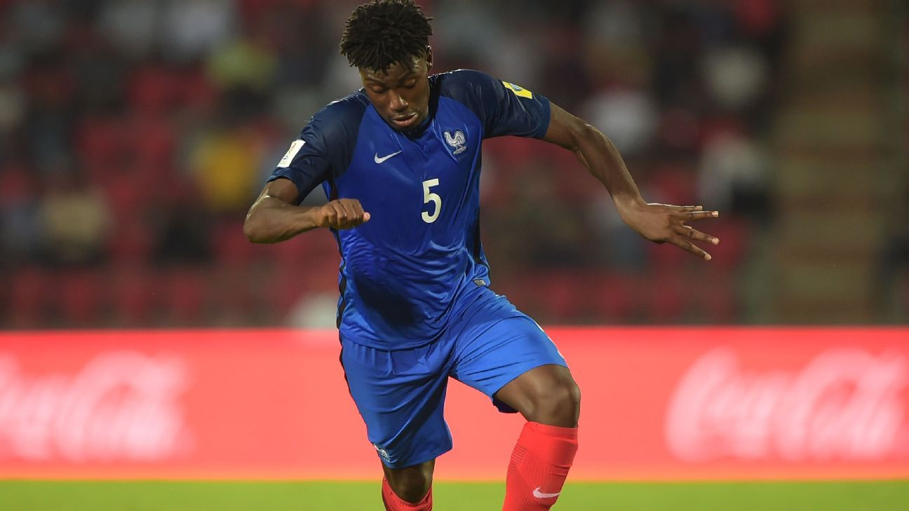 William Bianda in action for France under-17s.