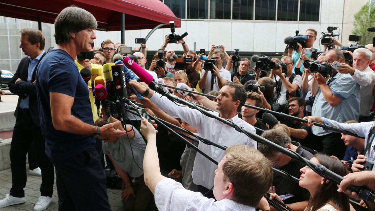 Joachim Low faces the media following Germany's shock exit from the World Cup.