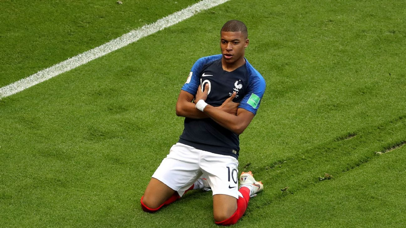 Kylian Mbappe has scored three goals at the World Cup with France.