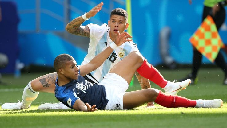 Marcos Rojo was the hero against Nigeria but the goat against France.