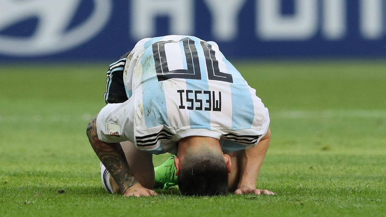 Lionel Messi crumbles to the pitch after Argentina lose to France in the World Cup round of 16.