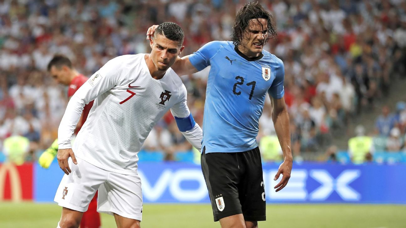 Edinson Cavani suffered an untimely calf injury after scoring a brace against Portugal.