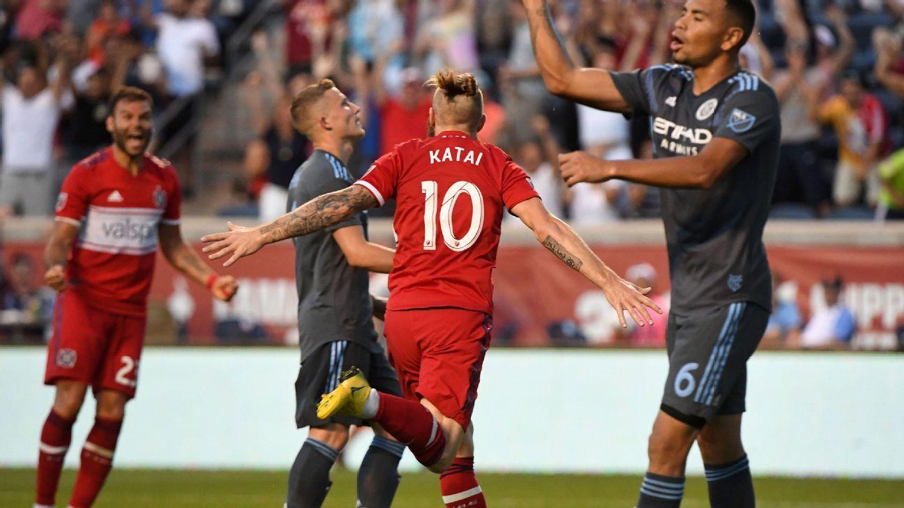 Aleksandar Katai's second-half brace carries Chicago Fire past NYCFC