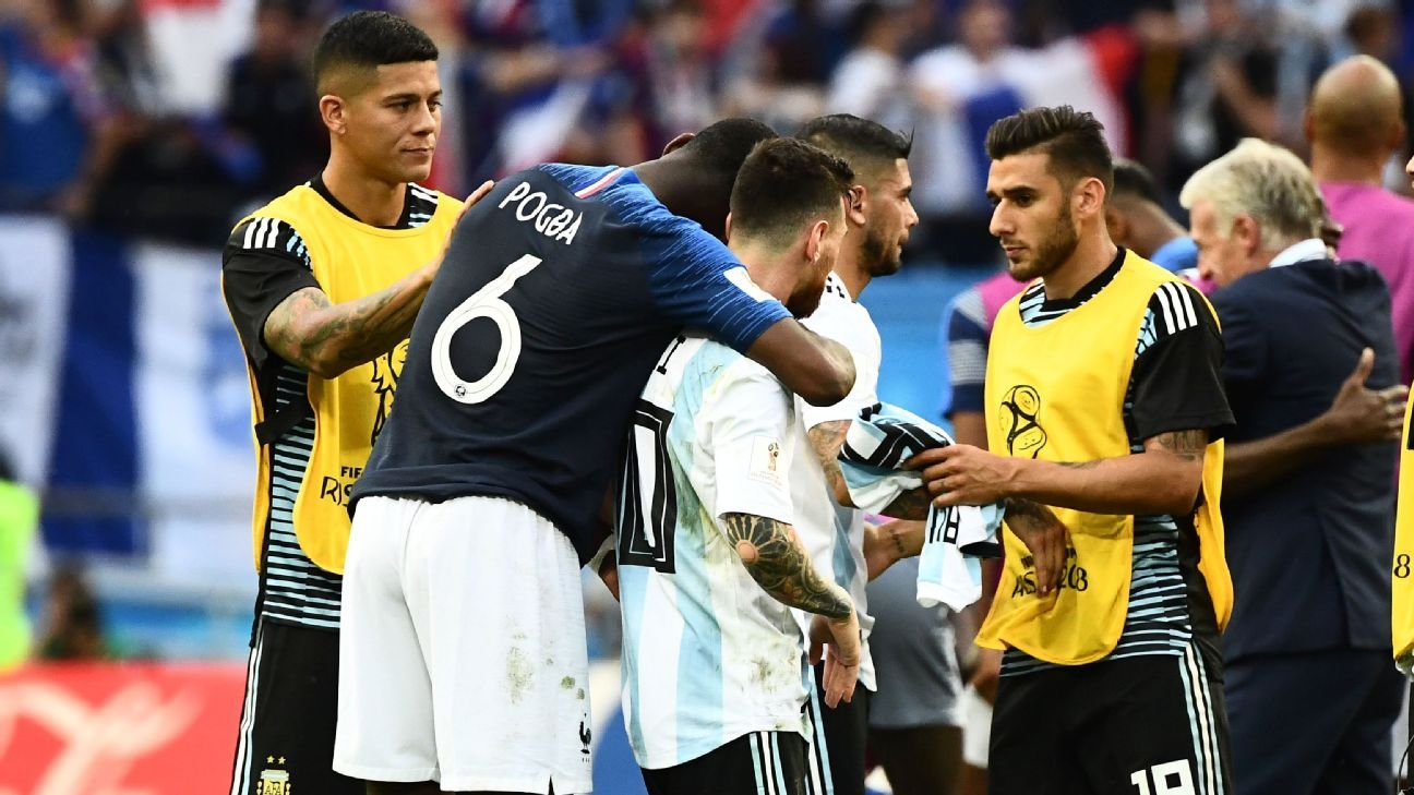 Paul Pogba consoles Lionel Messi after France beat Argentina from the 2018 World Cup