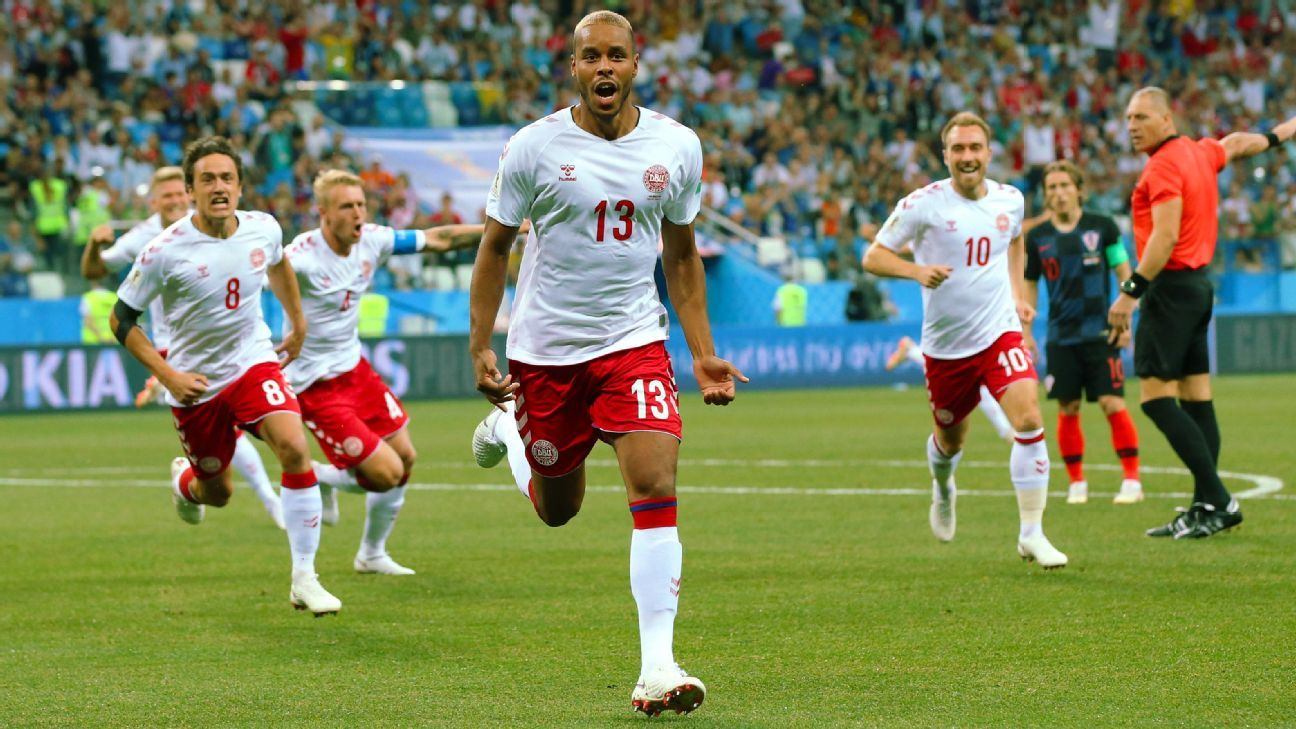 Mathias Jorgensen scored after 57 seconds for Denmark.
