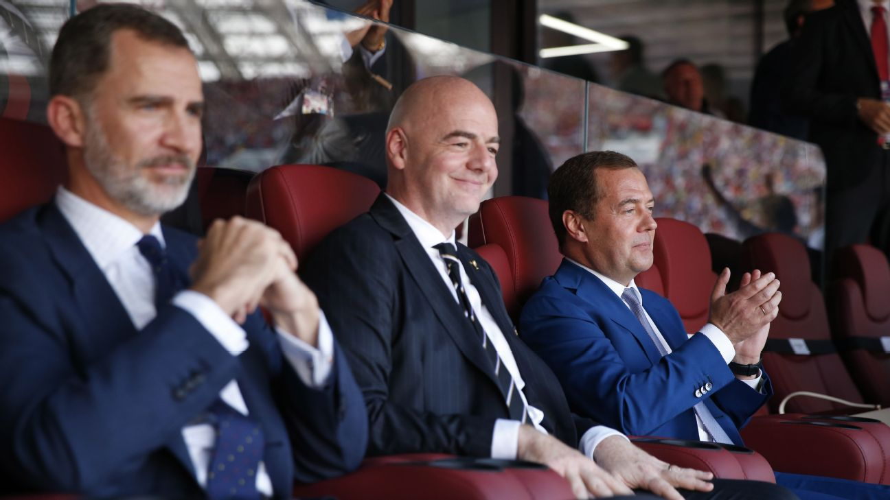 King Felipe VI of Spain, FIFA president Gianni Infantino and Russia's Prime Minister Dmitry Medvedev took in the game.