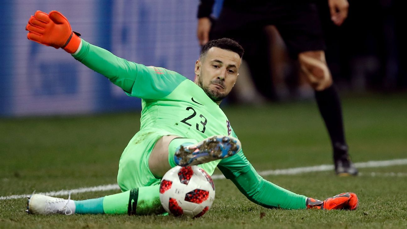Danijel Subasic makes a save during Croatia's penalty shootout win over Denmark in the World Cup round of 16.