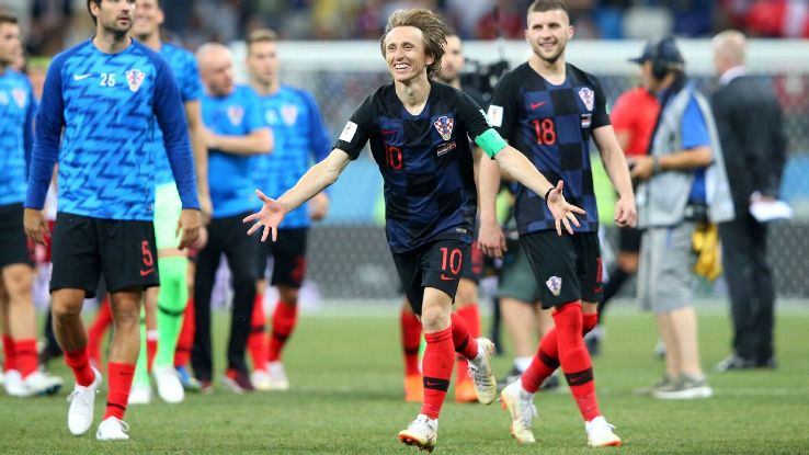 Luka Modric celebrates after Croatia's penalty shootout win over Denmark in the World Cup round of 16.