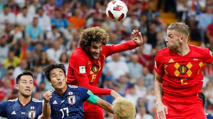 Marouane Fellaini's header pulled Belgium level at 2-2.
