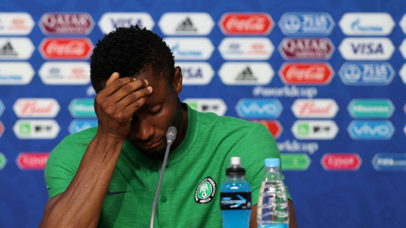 John Obi Mikel faced the media after Nigeria's loss to Argentina while knowing his father was being held for ransom.