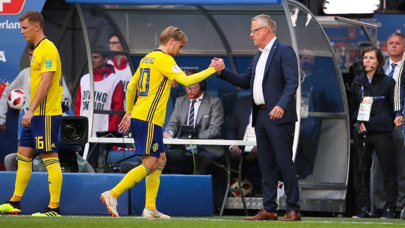 Emil Forsberg, left, and Janne Andersson, right, were key factors in Sweden's win vs. Switzerland.