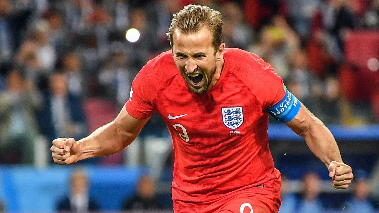 Harry Kane celebrates scoring against Colombia in the World Cup round-of-16.
