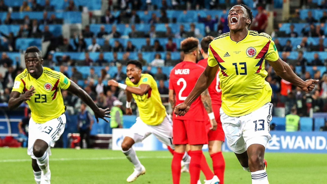 Yerry Mina scored three goals for Colombia at the World Cup finals.