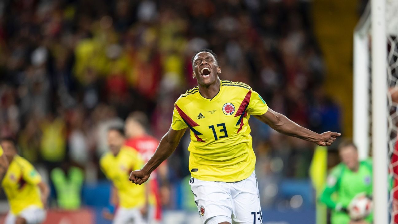 Yerry Mina scored three goals at the World Cup finals.