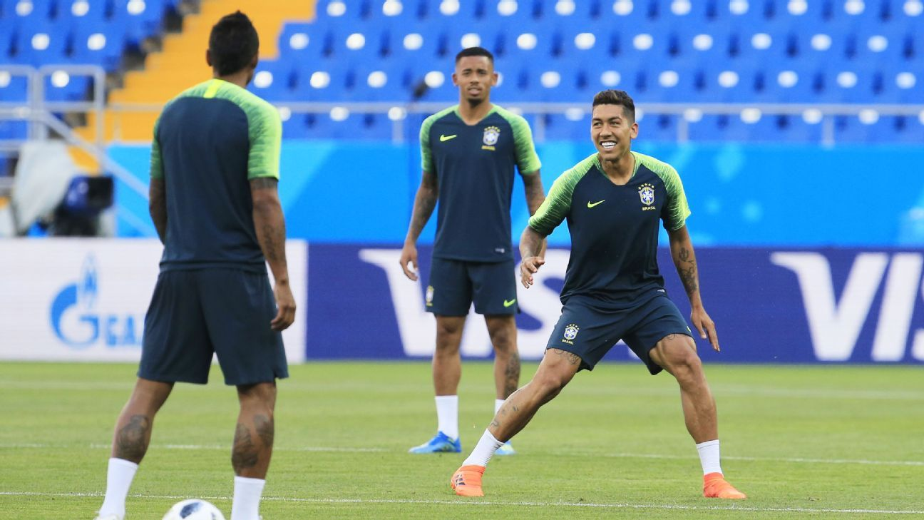 Gabriel Jesus, centre, should retain his starting spot but is getting a strong challenge from Roberto Firmino, right.