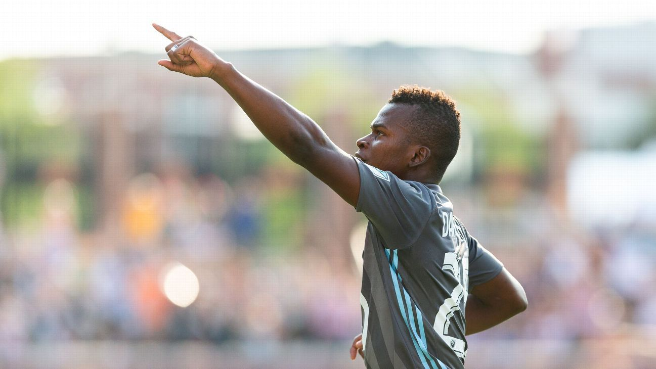 Darwin Quintero celebrates after scoring a goal for Minnesota United against Toronto FC.