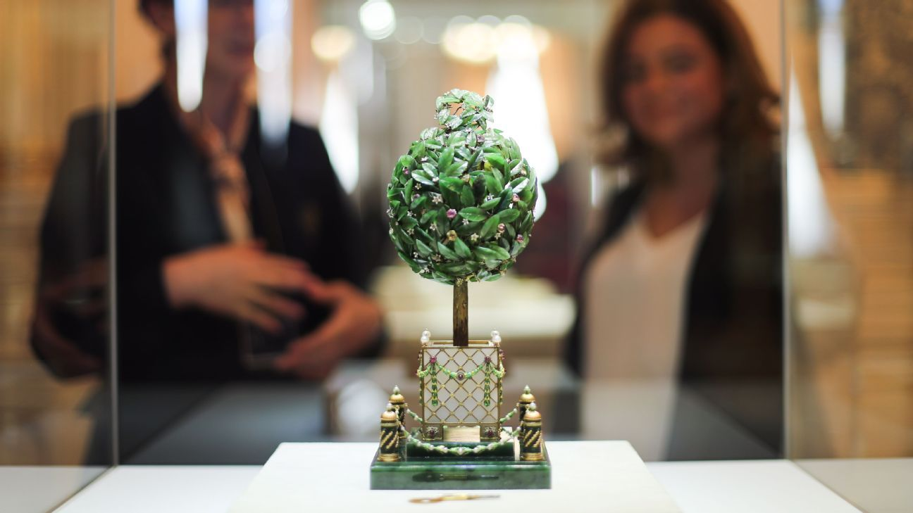 The Bay Tree Faberge Egg (also known as the Orange Tree egg) on display at St Petersburg's Faberge Museum.