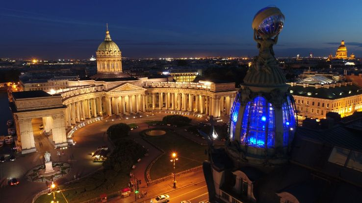 The Kazan Cathedral, a church designed on St Peter's Basilica in Rome.