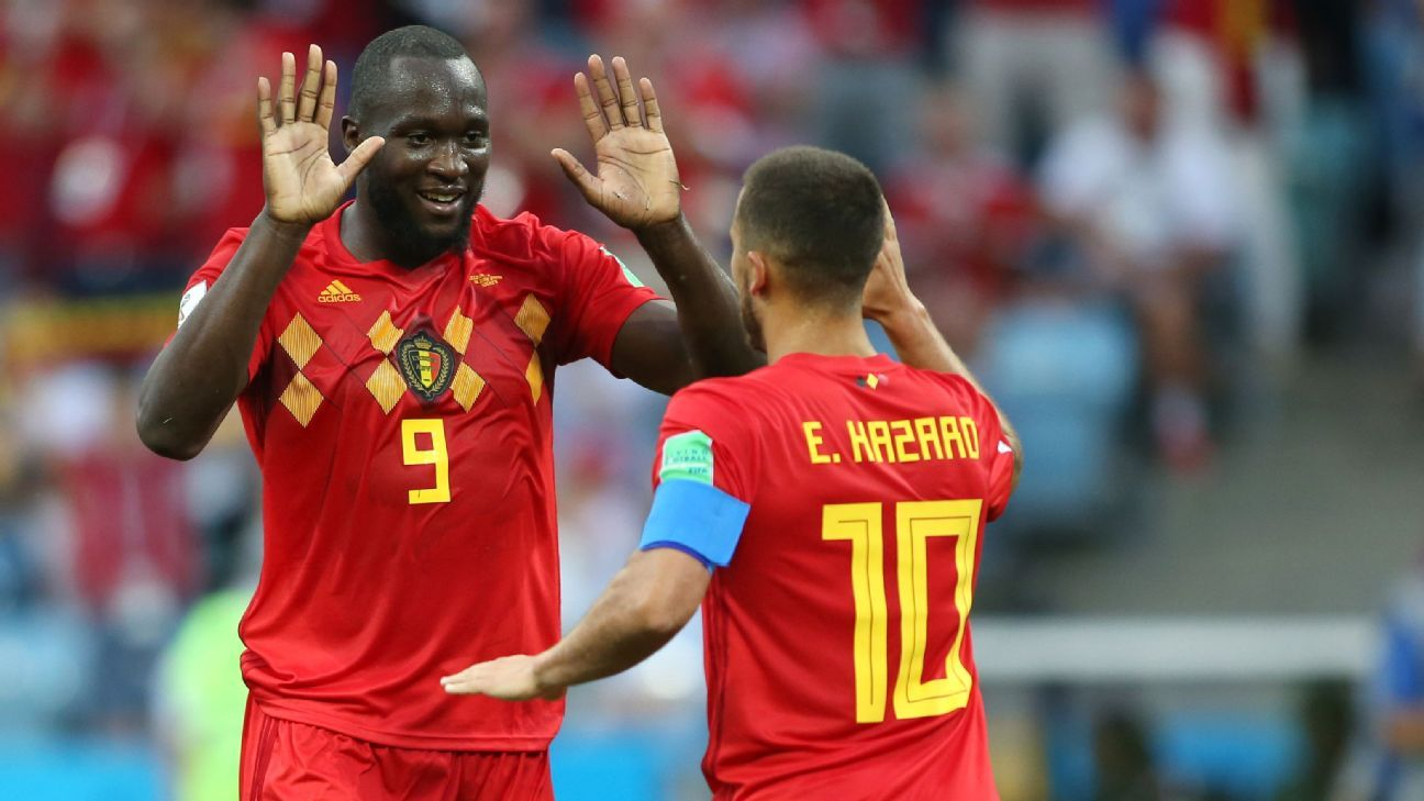 Romelu Lukaku and Eden Hazard celebrate during Belgium's group-stage win over Panama.