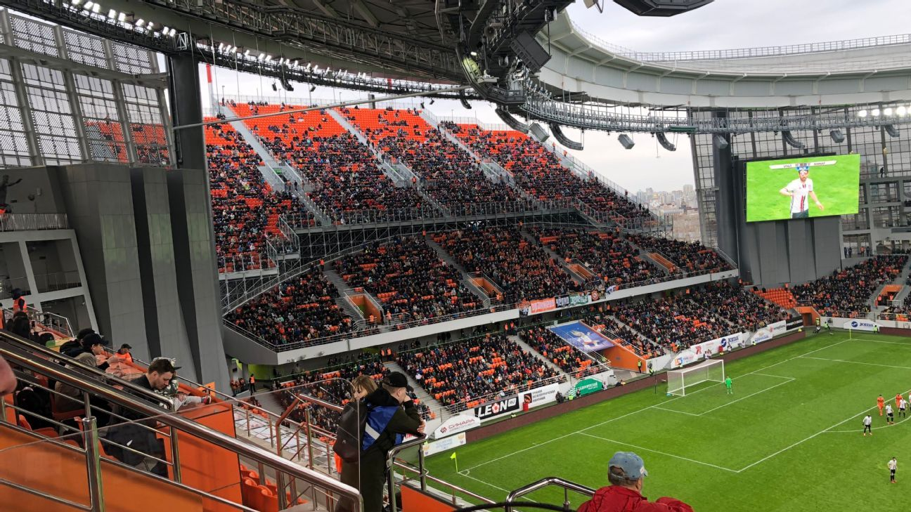 Ekaterinburg's solution for the World Cup was putting an absurd extended stand at either end of their stadium.
