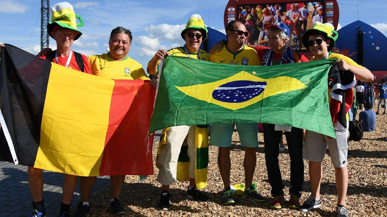 Brazil and Belgium fans