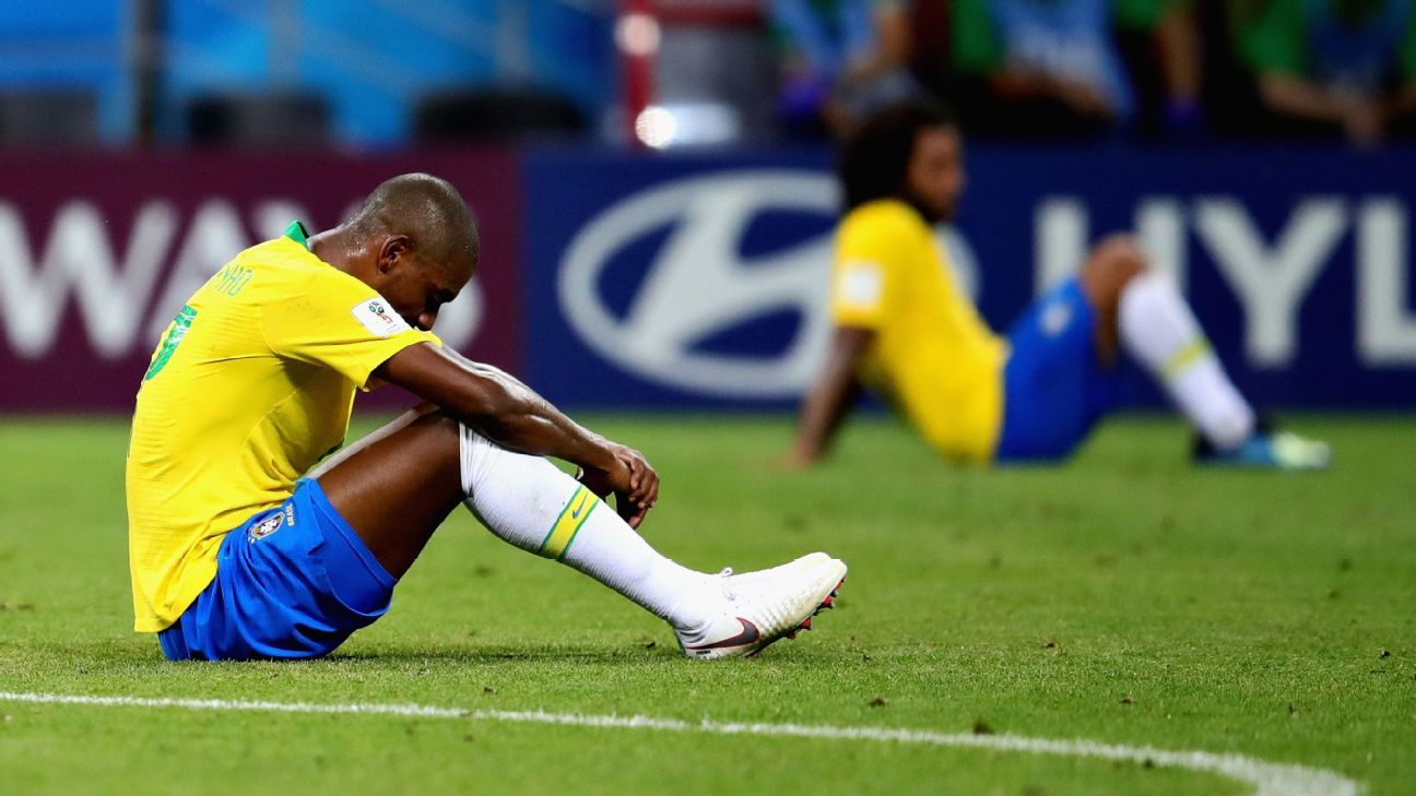 Fernandinho looks on after Brazil were eliminated in the quarterfinals by Belgium.