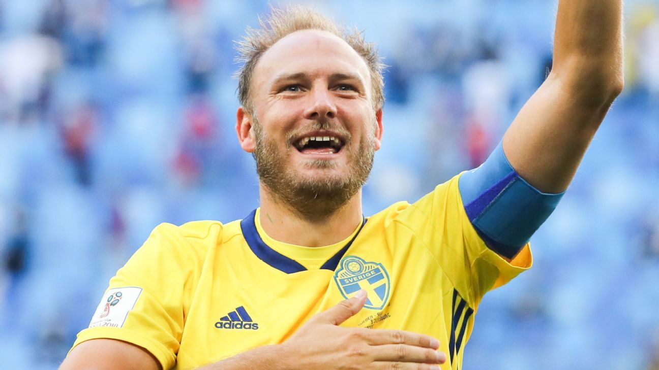 Sweden captain Andreas Granqvist celebrated his team's World Cup win over Switzerland