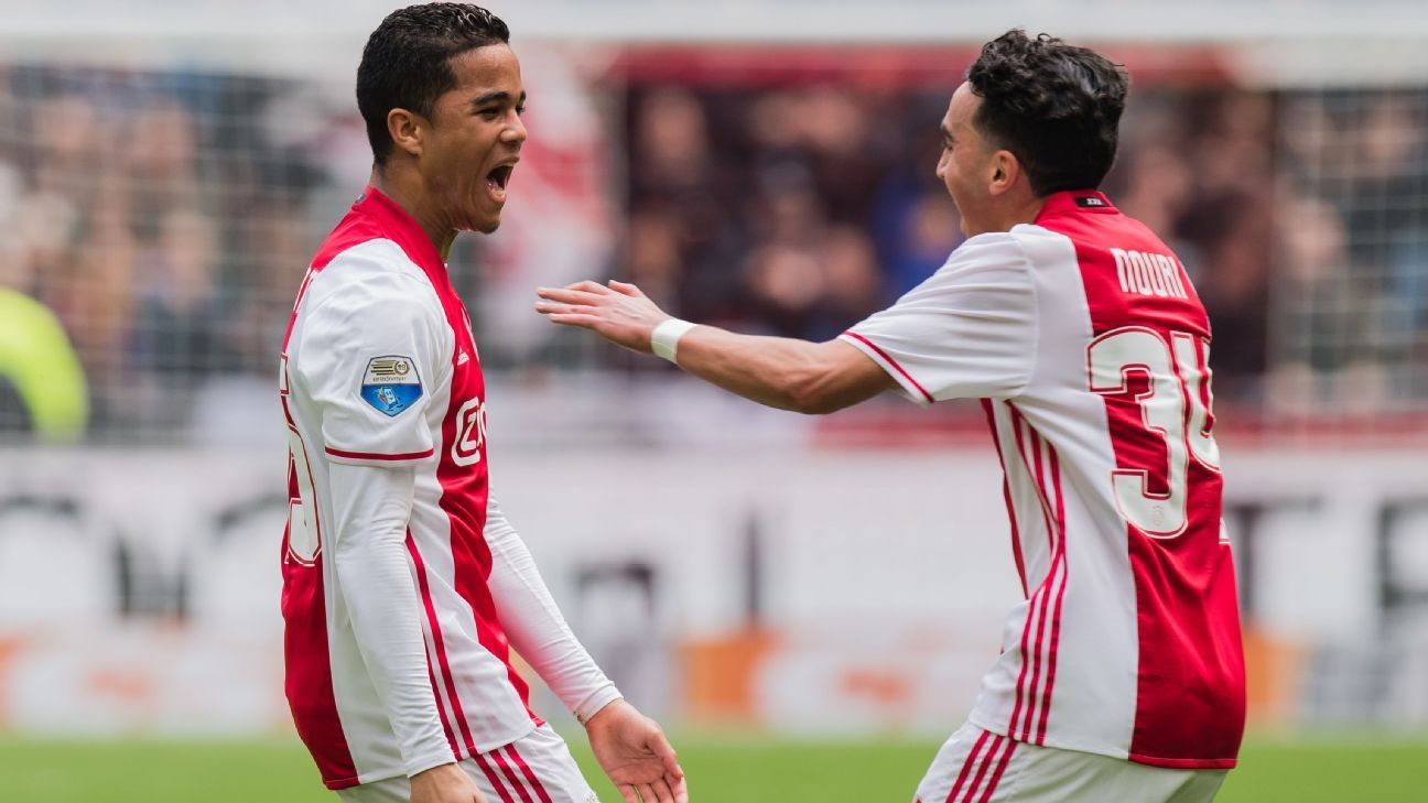 Justin Kluivert and Abdelhak Nouri celebrate a goal for Ajax.